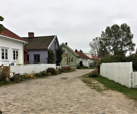 Oversikt over flere trehus i Vaterland ved Gamlebyen