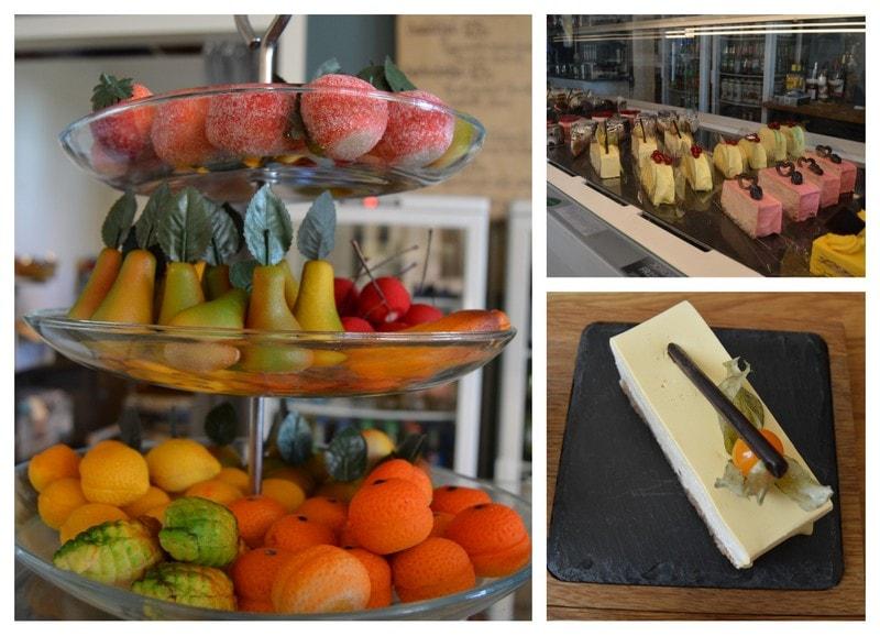 En duft av et kulinarisk Frankrike på Kafé Øks, Fredrikstad - Kollasj av konfekt og kaker