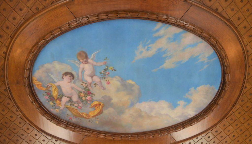 Et vakkert takmaleri på Kronovall Slott, Østerlen i Skåne
