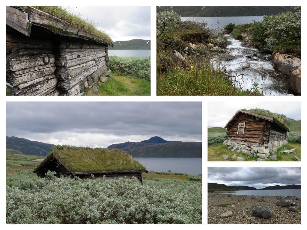 Kollasj av jakthytte som du finner på fottur fra Torfinnsbu til Bygdin