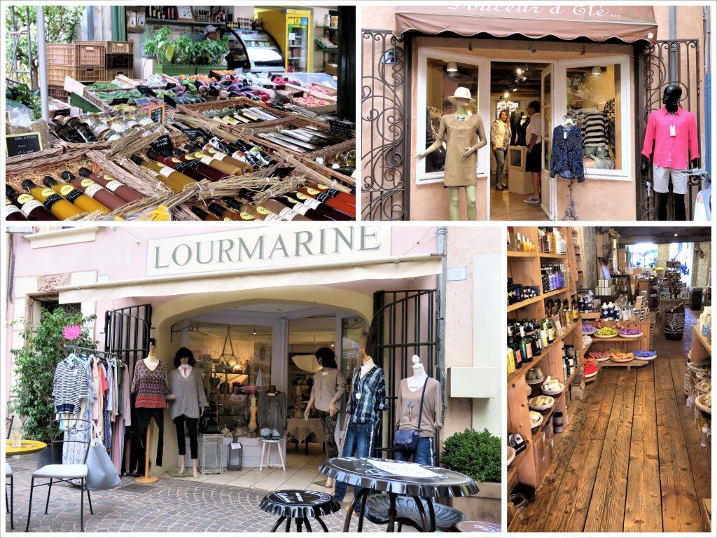Kollasj fra butikker i Sainte Maxime