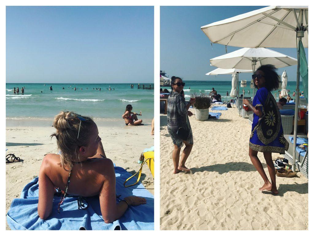 Kollasj fra strandliv. Jentetur til Dubai