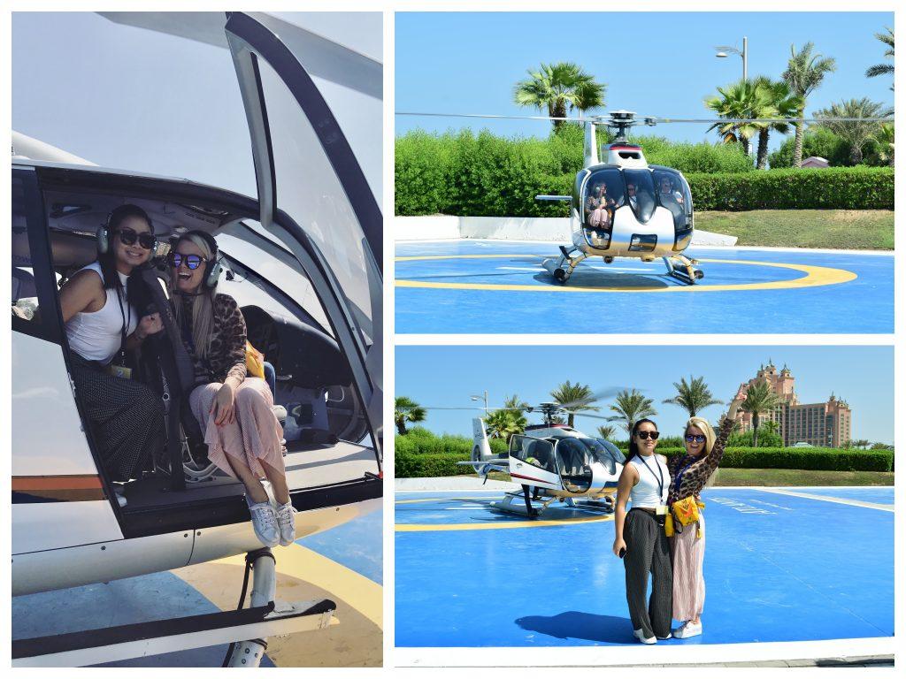 Kollasj, jentene på helikoptertur over Dubai