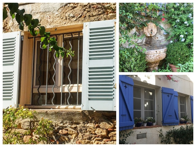 Sjarmerende vinduer med skodder og blomsterprakt, Grimaud