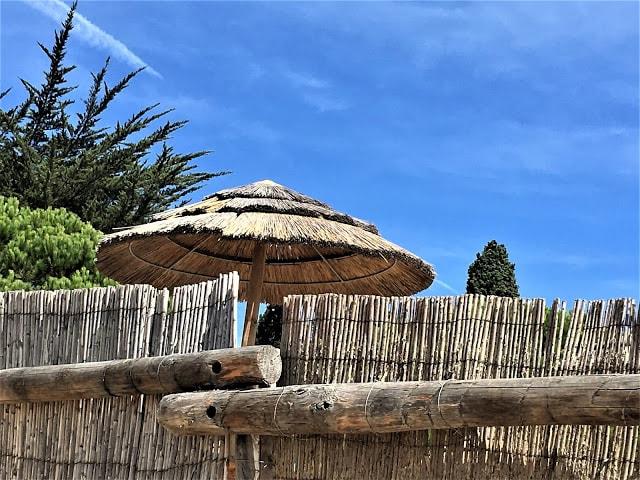 Vakre parasoller på stranden i Les Issambres, Frankrike