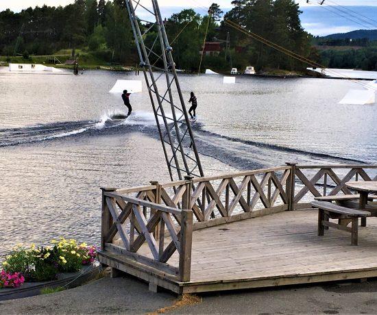 kabelbane med 5 master og 550 meter lang wire, Norsjø ferieland