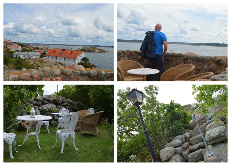 Kollasj fra utsikten og området rundt Strandflickorna, Lysekil.