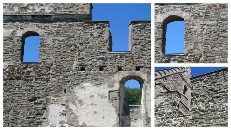 Kollasje med detaljer fra Brahe-borgen på Visingsö, Vättern, Småland