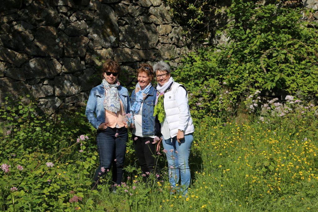 Tre søstre i Kjærlighetshaven på Svinør-Hammerøy i 2017