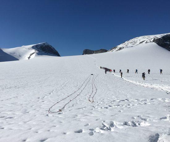 Far/datter-tur til Galdhøpiggen - i taulag over Styggebreen