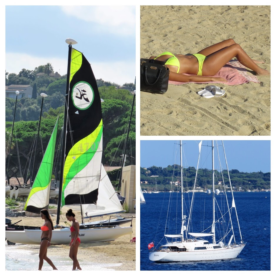 En alminnelig stranddag langs den franske riviera - Kollasj med blant annet båter til utleie