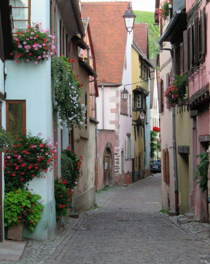 Riquewihr, En smal sjermerende gate med verandakasser med fine blomster Urbantoglandlig