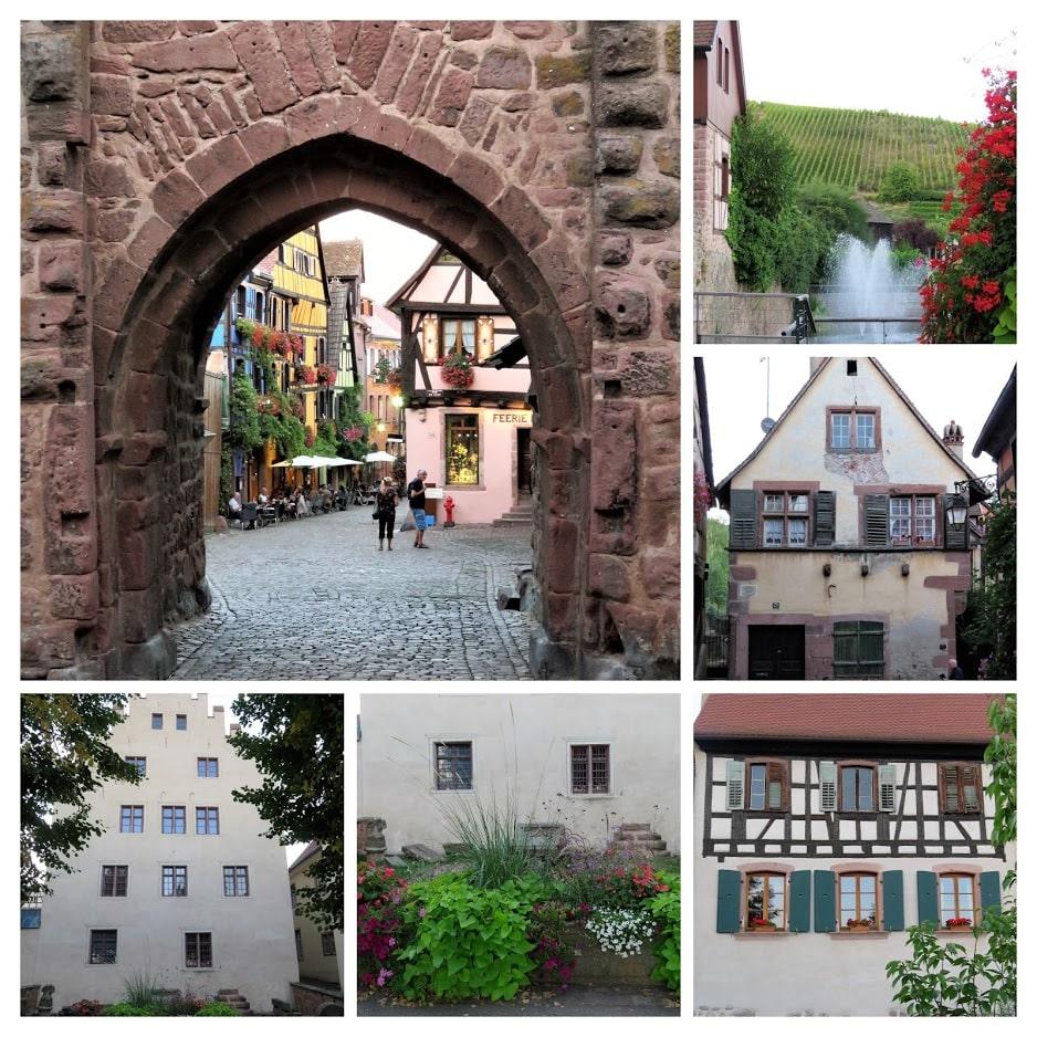 Riquewihr - kollasje over bygårder og vindrueområde. Urbantoglandlig