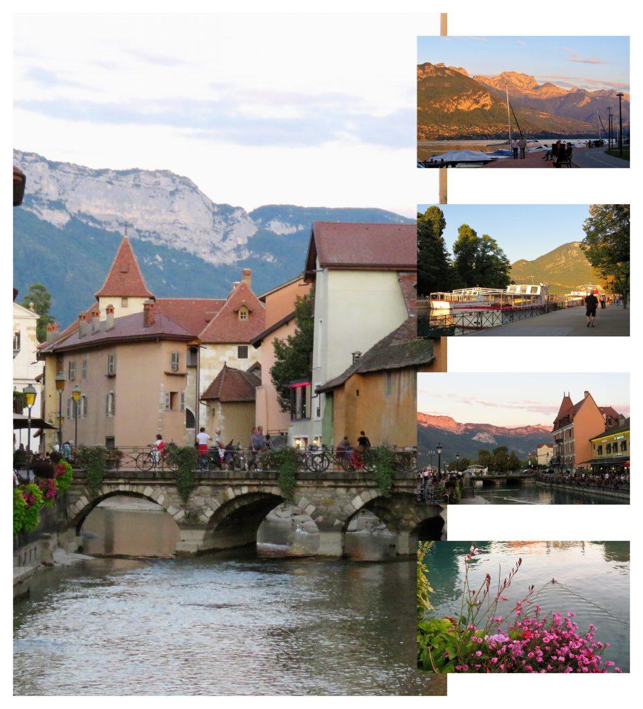 Annecy med Europas reneste innsjø, Kollasj med Alpene. Urbantoglandlig