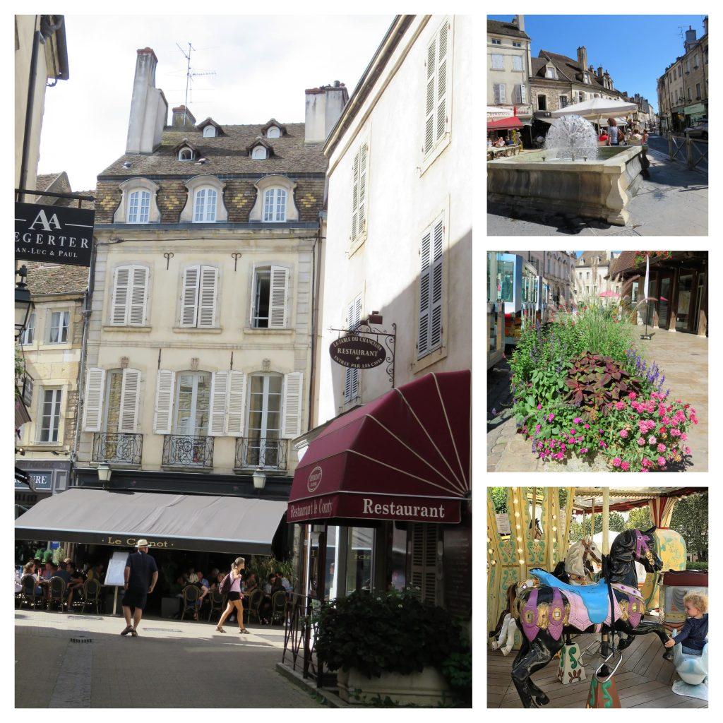 Beaune i Burgund, Hôtel Dieu. Kollasj fra byen. Urbantoglandlig