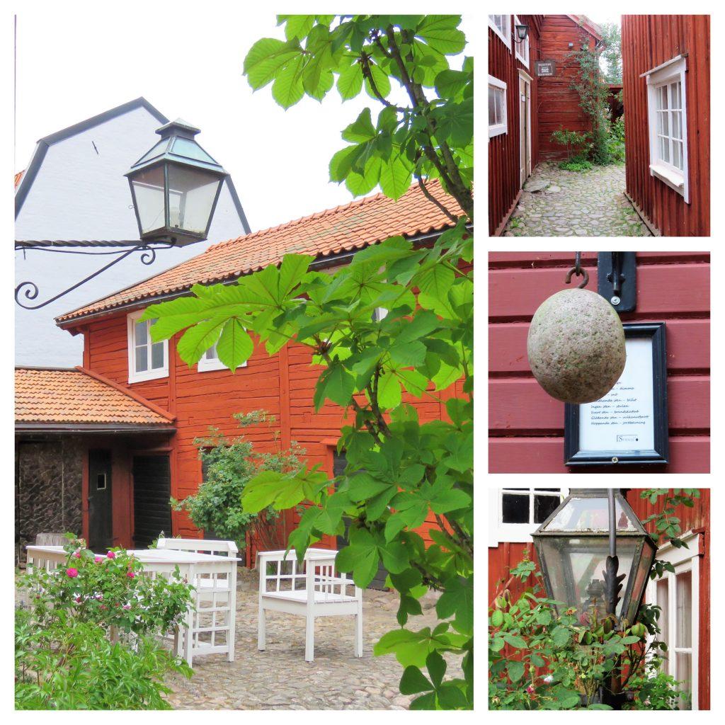 Opplev den gamle og unike trebyen i Eksjö - Kollasj fra en sjarmerende bakgård