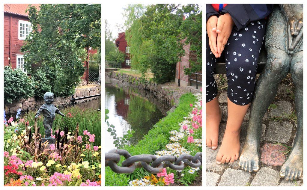 Opplev den gamle og unike trebyen i Eksjö - Kollasj fra parken i den gamle bydelen
