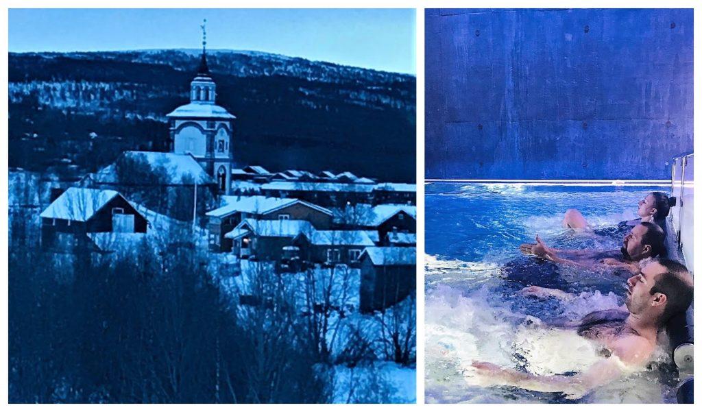 Reisen til Røros - en juledrøm blir virkelig - Blåtimen sett fra bassenget