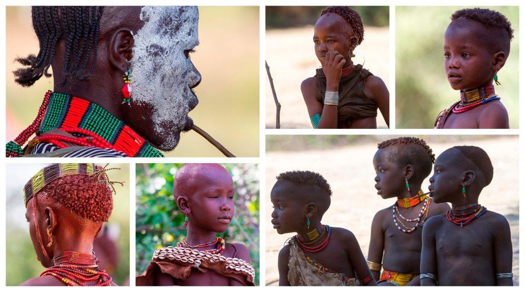 Rystende og tankevekkende besøk hos stammefolk i Etiopia - Kollasj av barn blant stammefolket