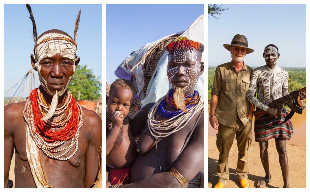 Rystende og tankevekkende besøk hos tammefolk i Etiopia - Karofolk poserer med sine Kalashnikover og de er dekket med imponerende kroppsmaling