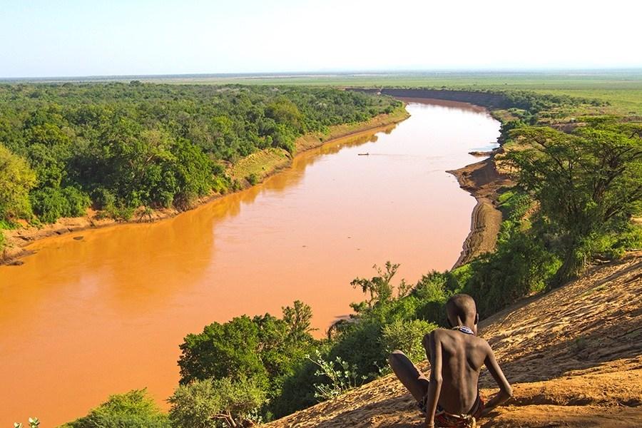 Utsikt over Omo elven fra landsbyen Korcho