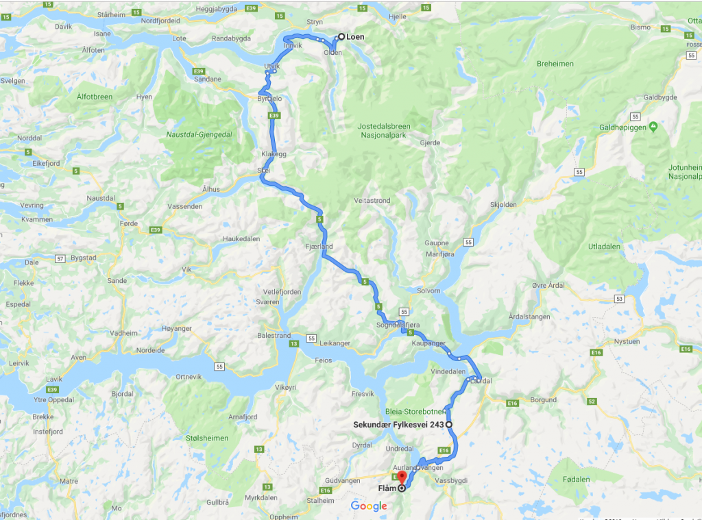 Med bobil på norgesferie for første gang. Kart fra Loen over Aurlandsvegen til Flåm