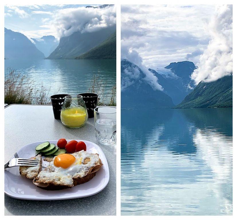 Det er idyll som preger Lovatnet inn mot Kjenndalsbreen idag - frokosten inntas nede i vannskorpa i Lovatnet IMG_2346 (3)