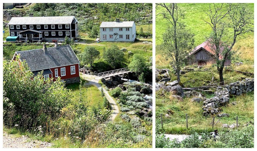 Kollasj av bebyggelse langs ruten fra Flåm til Myrdal med Flåmsbanen