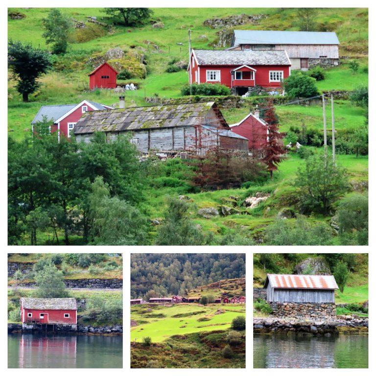 Kollasj av gammel bebyggelse langs fjordcruiset i Nærøyfjorden-min