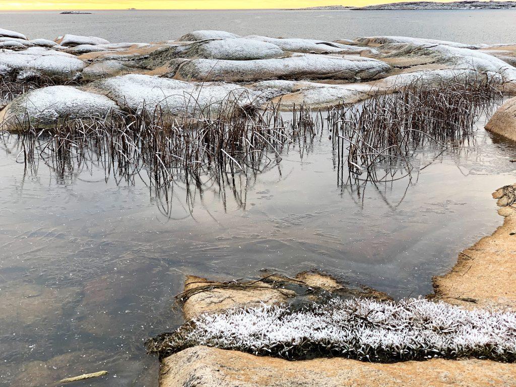 På rullesteinstur i Hvaler-skjærgården - Ishinne på et vann langs blankskurte fjell IMG_4838 (2)